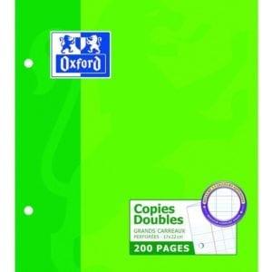 Livraison à domicile de Copies doubles perforées Oxford Classique 17x22cm 200 pages grands carreaux Seyès Chez Rentrée facile