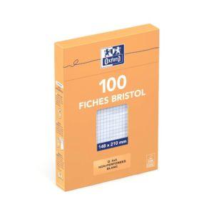 Livraison à domicile de Oxford Fiches Bristol A5  Sous Etui  Non perforées  Petits carreaux 5x5  100 fiches  Blanches Chez Rentrée facile
