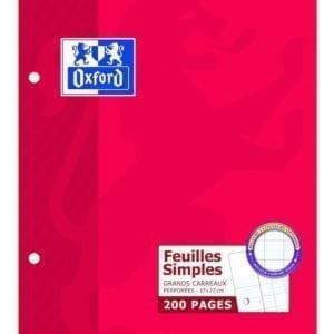 Livraison à domicile de Feuilles simples perforées Oxford Classique 17x22cm 200 pages grands carreaux Seyès Chez Rentrée facile