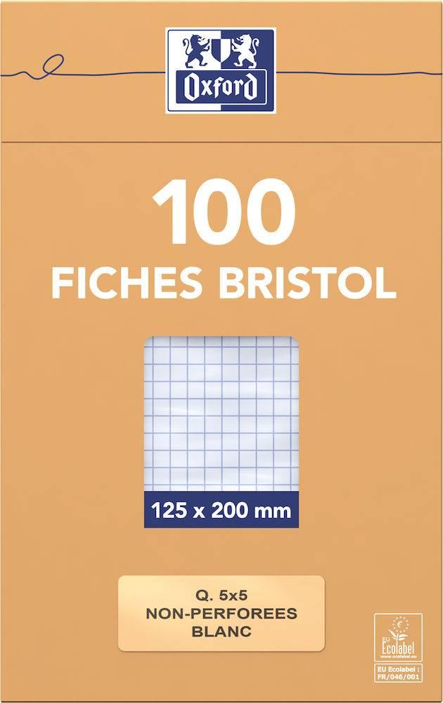 Fiches Bristol 125x20cm Oxford Sous Etui Non Perforées Petits Carreaux 5x5 100 Fiches Blanches