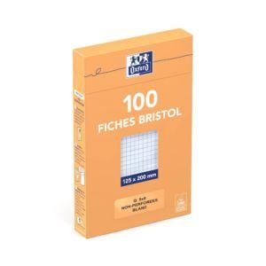 5x20cm  Sous Etui  Non perforées  Petits carreaux 5x5  100 fiches  Blanches Chez Rentrée facile
