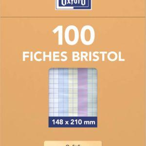 Livraison à domicile de Oxford Fiches Bristol A5  Sous Etui  Non perforées  Petits carreaux 5x5  100 fiches  Coloris assortis Chez Rentrée facile