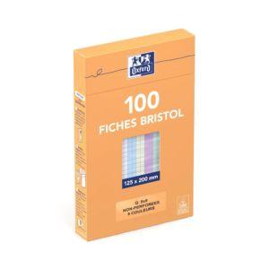 5x20cm  Sous Etui  Non perforées  Petits carreaux 5x5  100 fiches  Coloris assortis Chez Rentrée facile