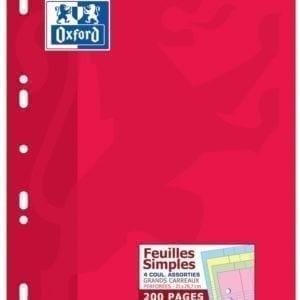 Livraison à domicile de Feuilles simples perforées Oxford Classique A4 200 pages grands carreaux Seyès assorti 4 couleurs Chez Rentrée facile