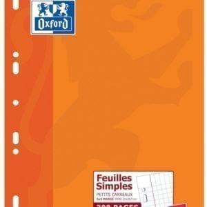 Livraison à domicile de Feuilles simples perforées Oxford Classique A4 200 pages Quadrillé 5mm margé Chez Rentrée facile