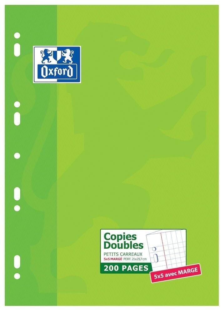 Livraison à domicile de Copies doubles perforées Oxford Classique A4 200 pages Quadrillé 5mm margés Chez Rentrée facile