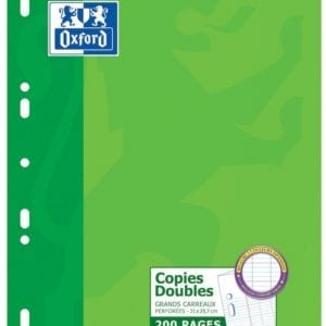 Livraison à domicile de Copies doubles perforées Oxford Classique A4 200 pages grands carreaux Seyès Chez Rentrée facile