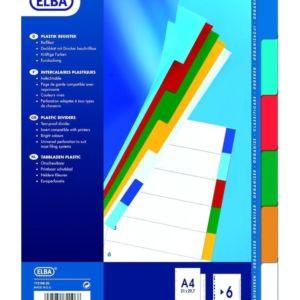 Livraison à domicile de Intercalaires Neutres Elba Format : A4 6 Positions Pp 12/100 Assorti Chez Rentrée facile