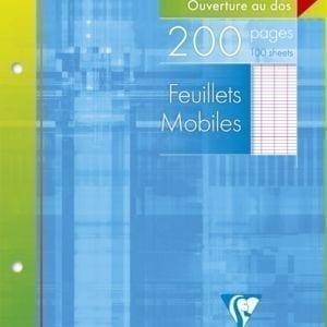 Livraison à domicile de Feuillets mobiles Clairefontaine 17x22cm 200 pages perforés 2 trous grands carreaux (séyès) sous étui Chez Rentrée facile