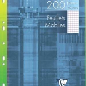 Livraison à domicile de Feuillets mobiles Clairefontaine A4 200 pages perforés petits carreaux (5x5) avec marge sous étui Chez Rentrée facile