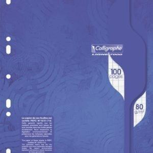 Livraison à domicile de Calligraphe7000 - 100 pages mobiles - A4 - blanc- Grands carreaux - perforé Chez Rentrée facile