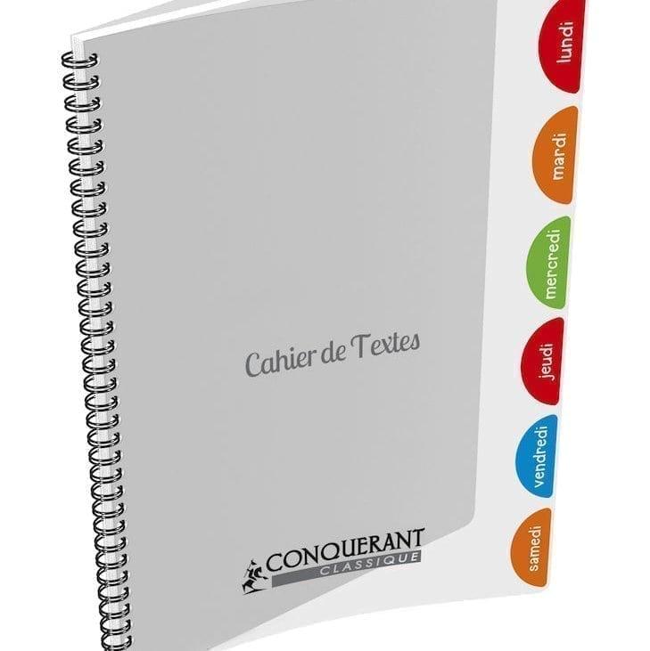 Livraison à domicile de Cahier Texte Conq Classique Reliure Integrale 17x22 124P Seyes 90G Chez Rentrée facile