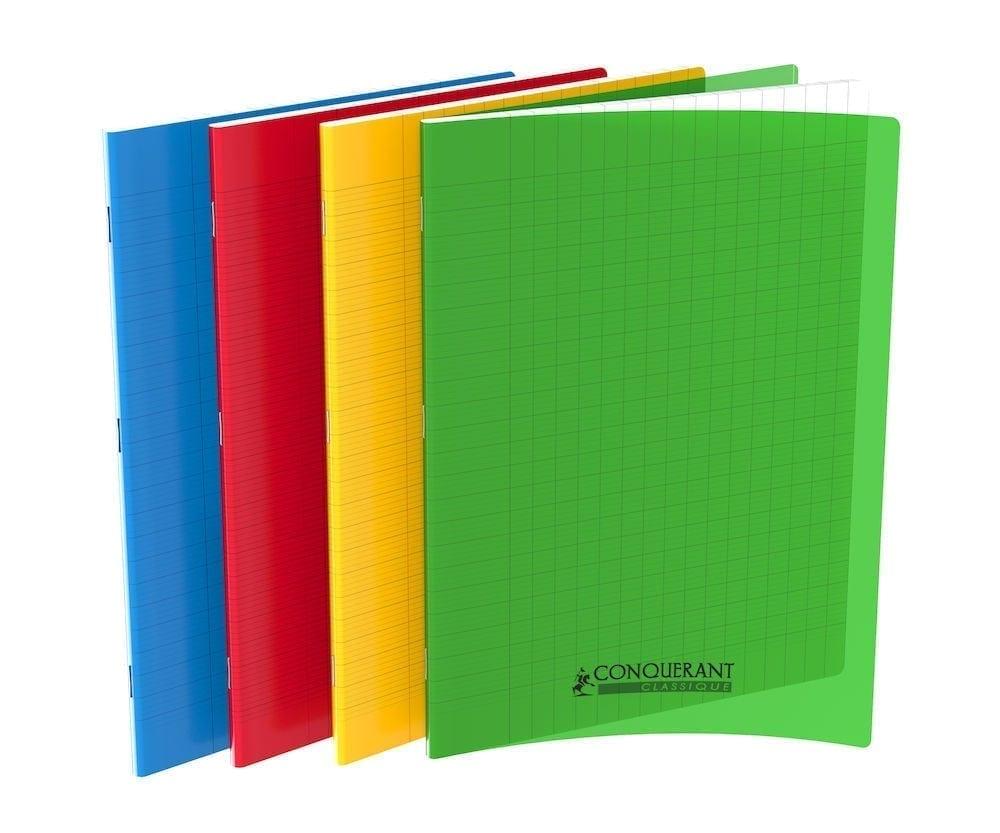 Cahier Conquerant Couverture Plastique 24x32 96 Pages Grands Carreaux Seyès