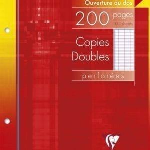 Livraison à domicile de Copies doubles Clairefontaine 17x22cm 200 pages perforées 2 trous à 103mmgrands carreaux (séyès) sous étui Chez Rentrée facile