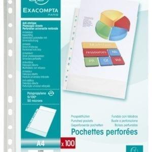 Livraison à domicile de Sachet de 100 pochettes perforées polypropylène grainé 5/100e - A4 Chez Rentrée facile