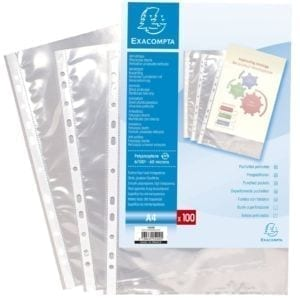 Livraison à domicile de Sachet de 100 pochettes perforées polypropylène lisse 6/100e - A4 Chez Rentrée facile