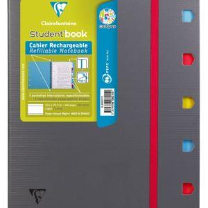 Livraison à domicile de Student'Book reliure intégrale Clairefontaine Campus couverture plastique A4+ 160 pages détachables perforé 4 trous ligné + marge + cadre en-tête Chez Rentrée facile