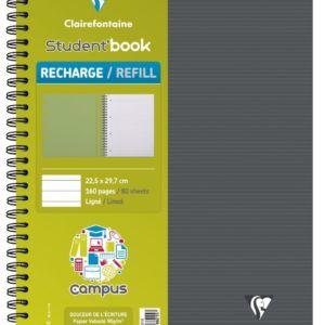 Livraison à domicile de Cahier-recharge reliure intégrale pour Student'Book Clairefontaine Campus A4+ 160 pages détachables perforé 4 trous ligné + marge + cadre en-tête Chez Rentrée facile