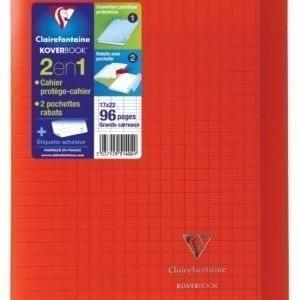 Livraison à domicile de Cahier piqûre Clairefontaine Koverbook couverture plastique 17x22cm 96 pages grands carreaux (séyès) Rouge Chez Rentrée facile