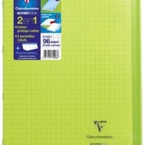 Livraison à domicile de Cahier piqûre Clairefontaine Koverbook couverture plastique A4 96 pages grands carreaux (séyès) Vert Chez Rentrée facile
