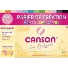 Pochette de 12 feuilles de dessin couleurs vives de la marque canson pour une rentrée-facile