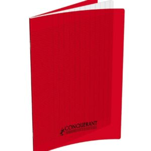 CAHIER CONQC AGRAFE 17X22  32P 90G SEYES 2,5MM  ROUGE POLYPRO