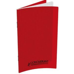 CARNET CONQUERANT CLASSIQUE AGRAFE 9X14 96P 90G Q5/5 ROUGE POLYPRO PP