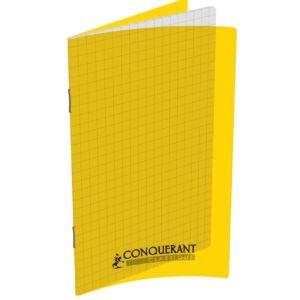 CARNET CONQUERANT CLASSIQUE AGRAFE 110X170 96P 90G Q5/5 JAUNE POLYPRO