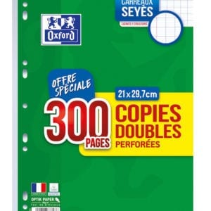 Lot de copies doubles Oxford seyes sur rentree facile le site des fournitures scolaires pas cher en lot