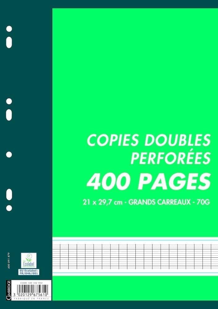 Lot X400 Copies Doubles 70g Grands Carreaux Seyes