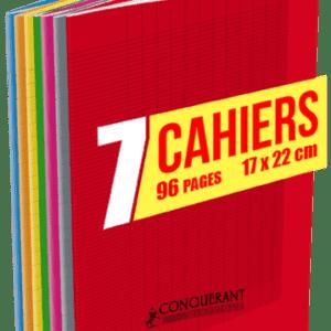 Cahier 24x32 96 pages Conquérant. 90g, grands carreaux. lot de7
